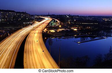 מכוניות, בלילה, עם, סמן, blur., שטוקהולם, עיר