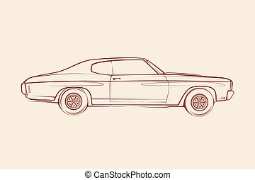 מכונית, אמריקאי, שריר, צללית, 70s