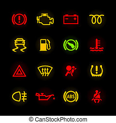 מכונית, לוח מכונים, איקונים