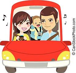 מכונית, משפחה, לנהוג, מעד