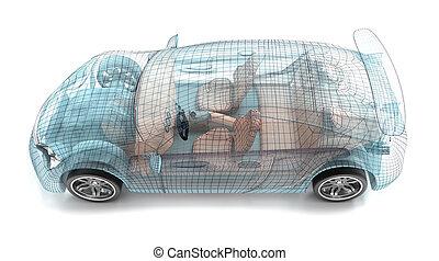 מכונית, עצב, חוט, model., שלי, בעל, design.