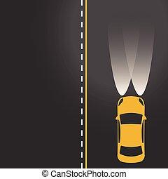 מכונית צהובה, על הדרך, עם, אורות, ב