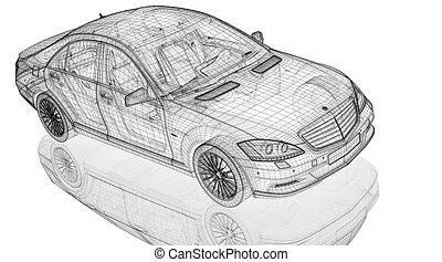 מכונית, 3d, דגמן