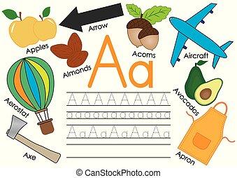 מכתב, אלפבית, התאמן, a., וקטור, ללמוד, אנגלית, children., תמונות, לכתוב, illustration.