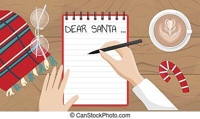 מכתב, רוצה, וקטור, דירה, כותב, סנטה, illustration., ילדה, חג המולד, claus.