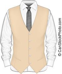 מלביש חולצה, עם, waistcoat.
