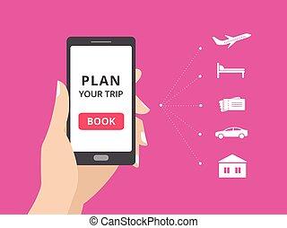 מלון, כרטיסים, smartphone, יסודות, להחזיק, כפתר, screen.,...