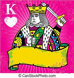 מלך, דגל, דוגמה, צבעוני, לבבות