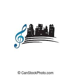 מנגינה, וקטור, מוסיקה, דוגמה, עצב, יפה, שיר, סקיסכאפאר, עיר, לוגו