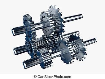 מנוע, השב, מתכת, סיבובי, דוגמה, הפרד, מכני, לבן, חתיכה, 3d