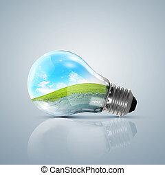 מנורה, נורת חשמל, עם, נקי, טבע, סמל, בתוך