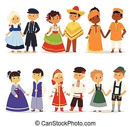 מסורתי, שונה, ילדים, illustration., חמוד, אופי, לאומי, ילדות...