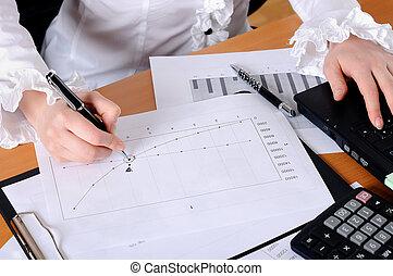 מסמכים, לעבוד, עסק, צעיר, העבר, אישה