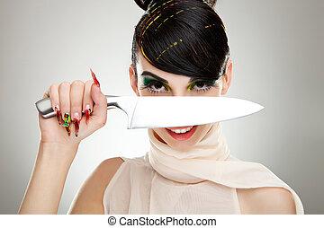 מעל, אישה, סכין, שלה, צפה