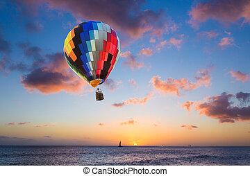 מעל, הבלט, חם, שקיעה, ים, balloon