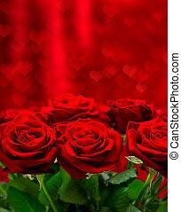 מעל, ולנטיינים, ורדים, רקע, לבבות, יום, אדום