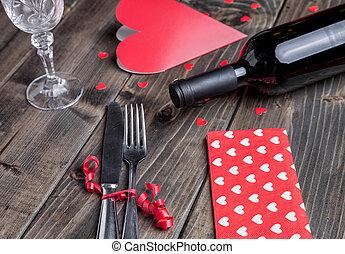 מעץ, ארוחת ערב, קבע, רומנטי, רקע