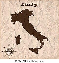 מפה, קמט, ישן, paper., איטליה, דוגמה, וקטור, גראנג