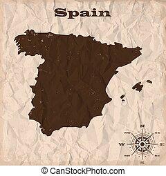 מפה, קמט, ישן, paper., דוגמה, וקטור, גראנג, ספרד