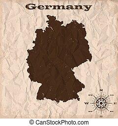 מפה, קמט, ישן, paper., דוגמה, וקטור, גרמניה, גראנג