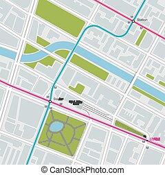 מפה של עיר, עם, תחבורה, זמום