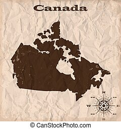 מפה של קנדה, קמט, ישן, paper., דוגמה, וקטור, גראנג