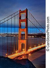 מפורסם, גשר של שער זהוב, על ידי, לילה