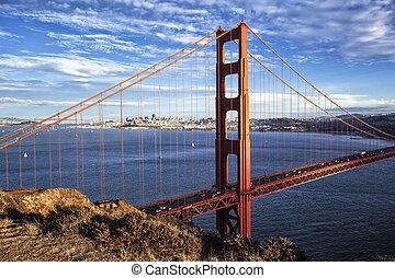 מפורסם, הבט, של, גשר של שער זהוב