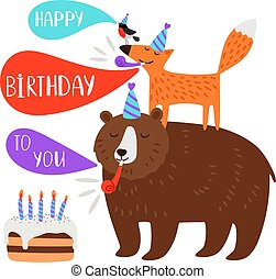 מפלגה, יום הולדת, בעלי חיים, ילדים, כרטיס