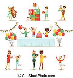 מפלגה, קבע, קטעים, יום הולדת, ילדים