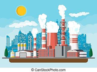 מפעל, תעשיתי, plant., הנע