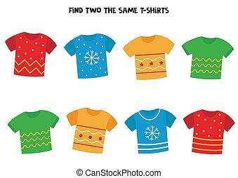 מצא, שני, משחק, הגיוני, kids., אותו, t-shirts.