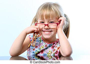 מצחיק, ילדה קטנה, ללבוש, glasses.
