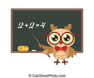 מצחיק, ילד, קמיע, בית ספר, blackboard., ידע, שמח, חכמה, משקפיים, סמל, דוגמה, הדפס, מתמטיקה, ינשוף, צפור, מורה, ללמד, ללמוד, הפרד, חמוד