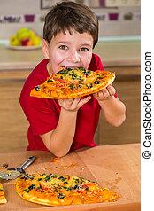 מצחיק, לאכול, בחור, גדול, חתיכה, פיצה