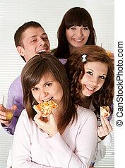 מצחיק, לאכול, קמפיין, אנשים, ארבעה, שמח, פיצה