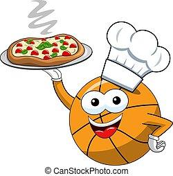 מצחיק, לשרת, אופי, הפרד, כדור, כדור סל, בשל, ציור היתולי, פיצה
