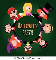 מצחיק, קבץ, illustration., קרנבל, halloween., תלבושות, וקטור, הזמנה, מפלגה, ילדים, אחסן