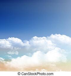 מציאותי, עננים, ב, שמיים כחולים, רקע