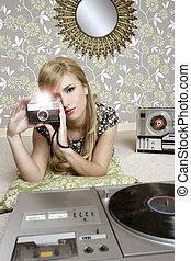 מצלמה, ראטרו, צילום, אישה, ב, בציר, חדר