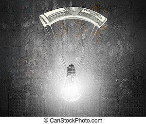 מצנח, כסף, מואר, נורת חשמל, אור