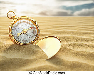 מצפן, ב, ים, sand., טייל מטרה, ו, ניווט, concept.