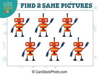 משחק, תמונות, ילדים, שני, אותו, וקטור, מצא, illustration.