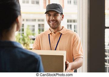משלוח, בית, איש, צעיר, לעשות