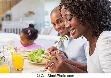 משפחה, בריא, ביחד, להנות, ארוחה, שמח