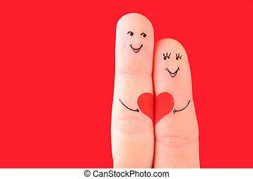 משפחה, מושג, -, a, איש, ו, a, אישה, החזק ב, ה, לב אדום, צבע,...