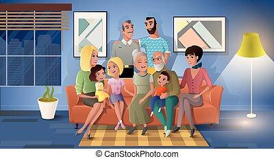 משפחה, שלושה, ביחד, וקטור, ציור היתולי, דורות