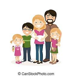 משפחה, שלושה, הורים, babyborn, ילדים, שמח