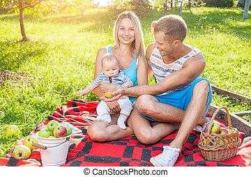 משפחה שמחה, להנות, a, פיקניק, בחוץ