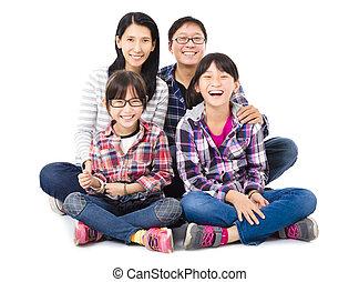 משפחה, שמח, אסייתי, ביחד, לשבת